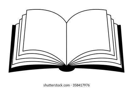 Open Book Black White Illustration Design Stock Vektorgrafik