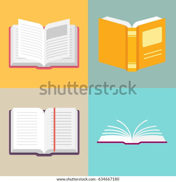 Open book vector icons in a flat style. Study and knowledge, library and education, science and literature. Isolated open books in various positions.