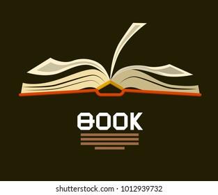 Open Book . Vector Logo. Flat Design Bookstore Symbol.