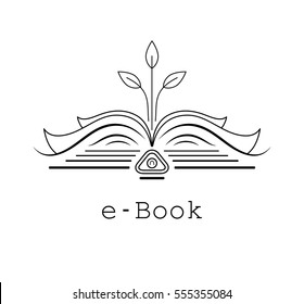 Open book, from which grows the tree. Vector logo for the e-book. Line art