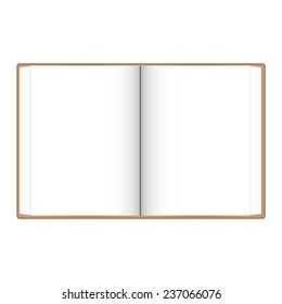 Open book white pages with Brown book cover vector illustration