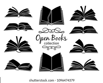 Open books black silhouettes. Book reading icons vector illustration isolated on white for library logo or education symbol