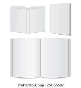 open books blank set mock-ups. vector illustrations