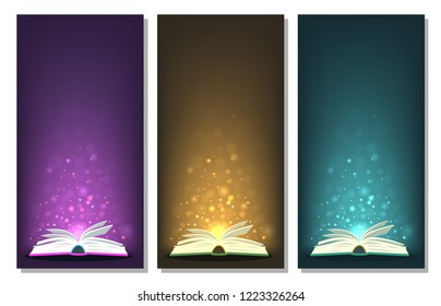 Open books with different colors magic lights. Perfect banners for fantasy, fairy-tale, miracle, literature concepts . Vector illustration with place for your text.