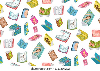 Open Books Reading Seamless Pattern Background. Colorful seamless background of hand drawn books covers illustration.