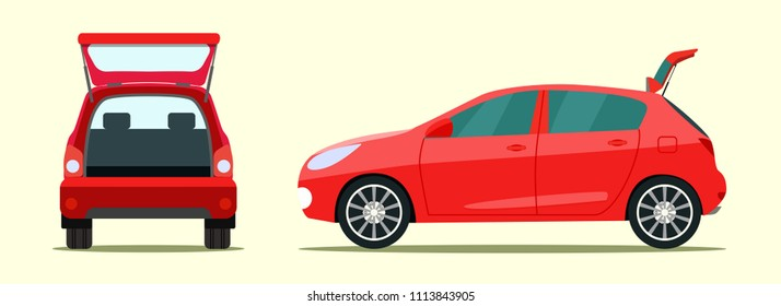 Сar with open boot. Side and back view. Vector flat style illustration