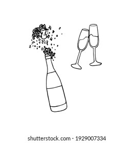 Open bottle of champagne with foam and splashes and two clinking glasses with a drink - vector sketch illustration.
