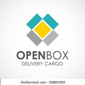 Open box of delivery cargo abstract vector and logo design