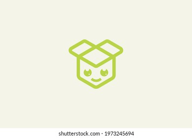 Open box of delivery. Courier logo Box delivery. Send logo. Transport logo. Package logo, Box icon vector and illustrator for your business or packaging.