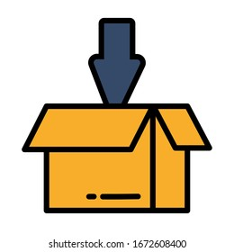 open box for download with arrow on white background vector illustration design