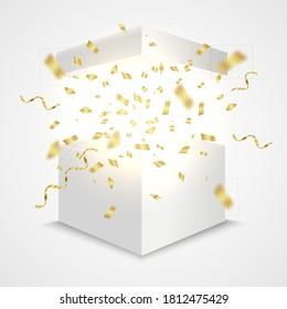 Open box with golden confetti. Giftbox surprise concept. Vector realistic prize container