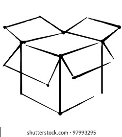 Open box icon isolated on white background. Hand drawing sketch illustration