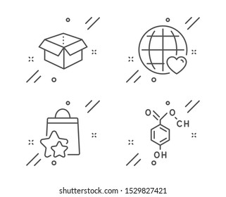 Open box, International love and Loyalty points line icons set. Chemical formula sign. Delivery package, Internet dating, Bonus bags. Chemistry. Technology set. Line open box outline icon. Vector