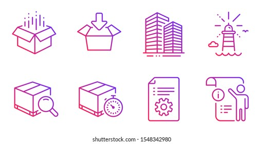 Open box, Lighthouse and Get box line icons set. Technical documentation, Search package and Skyscraper buildings signs. Delivery timer, Manual doc symbols. Gradient open box icon. Vector