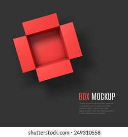 Open box mockup template. Top view. Vector Illustration EPS10