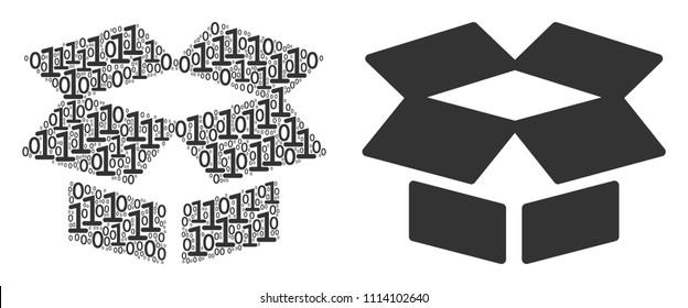 Open box mosaic icon of zero and null digits in randomized sizes. Vector digital symbols are arranged into open box collage design concept.