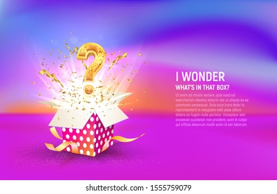 Open box with question sign and confetti explosion inside and on colorful liquid background. Mystery giftbox vector illustration web banner