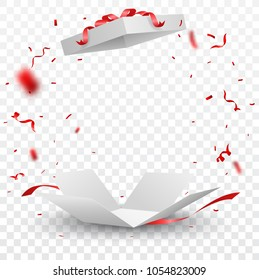 Open box with red confetti , isolated on transparent background