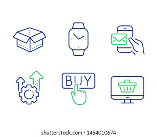 Open box, Seo gear and Messenger mail line icons set. Smartwatch, Buying and Web shop signs. Delivery package, Cogwheel, New e-mail. Digital time. Technology set. Line open box outline icons. Vector