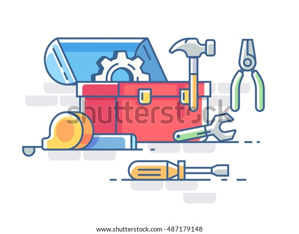 Open box with tools. Pliers and hammer, screwdriver and roulette. Vector illustration