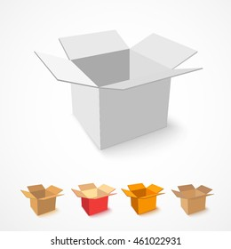 Open box. Vector illustration. Set