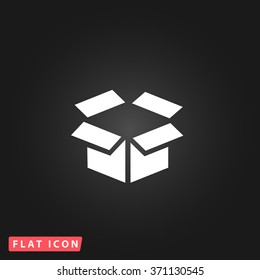Open box. White flat simple vector icon on black background.