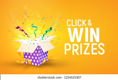 Open brigh textured box with confetti explosion inside and Click and win prizes text. Flying particles from giftbox vector illustration on yellow background
