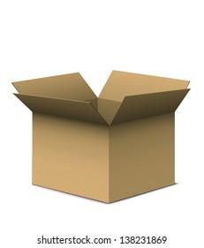 Open brown cardboard box.