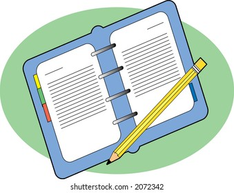 Open business journal with a pencil on green background
