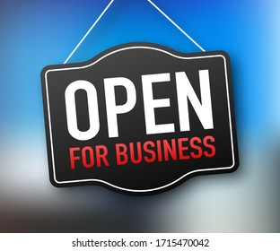 Open for business sign. Flat design for business financial marketing banking advertisement office people life property stock fund commercial background in minimal concept cartoon illustration