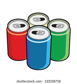 open cans colorful vector