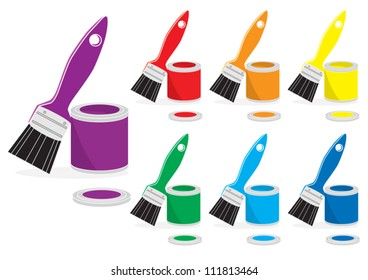 Open cans of paint and paintbrushes in the colours of the rainbow or spectrum on a white backgroud for your decoration concept, vector illustration