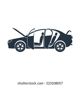 open car, crash roadside, isolated icon on white background, auto service, car repair