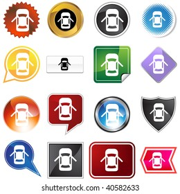 Open car door alert icon set isolated on a white background.