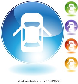 Open car door crystal icon isolated on a white background.