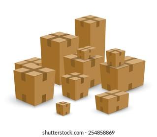 Open card board brown box set