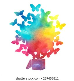 Open cardboard box with colorful butterflies flying.Gift-butterfly