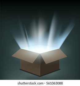 Open cardboard box with a glow inside. Stock vector illustration.