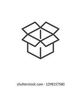 Open cardboard box line icon. linear style sign for mobile concept and web design. Cardboard box waste outline vector icon. Symbol, logo illustration. Pixel perfect vector graphics