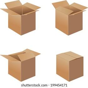 Open Cardboard Box- Vector