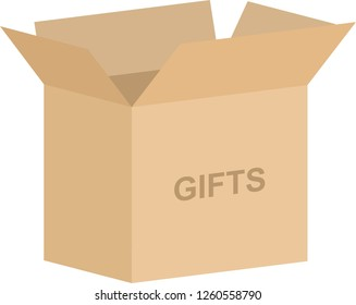 Open cardboard box vector for gifts concept