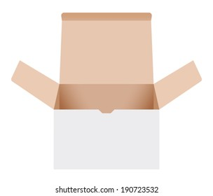 Open cardboard box. Vector illustration
