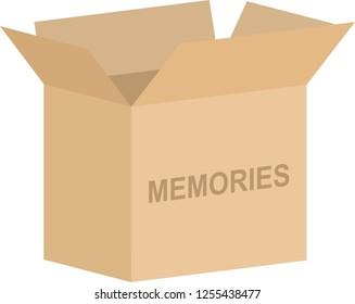 Open cardboard box vector for memories or keepsake concept