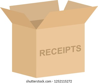Open cardboard box vector for tax receipts concept