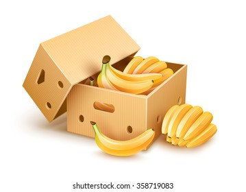 Open cardboard box with yellow banana fruits inside. Vector illustration, isolated on white background. Packaging for fruits of vegetables for delivery, storage and transportation.