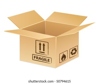 Open card-box icon for delivery, transportation or moving day idea. Vector illustration.
