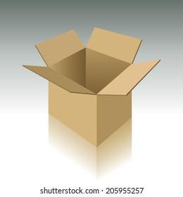 Open carton box with realistic shadows. Vector illustration