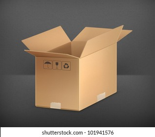 Open carton box, vector
