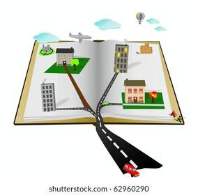 Open Cartoon Pop Up vector book with scenes, people, buildings,vehicles