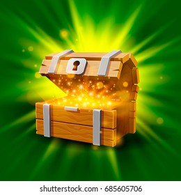 Open chest with gold, the bright background. Vector illustration